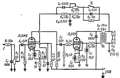 Схема однотактного усилителя на 6п3с фото 183